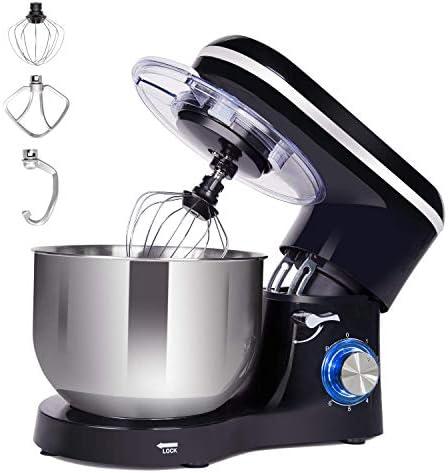 Kitchen Mixer with 6 Quart Stainless Steel Bowl, 660W 6 Speeds Tilt-Head Dough Mixer, Stand Mixer with Dough Hook, Whisk, Beater and Splash Guard, Black