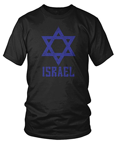 Amdesco Men's Israel Star of David, Israeli Pride T-Shirt, Black Large