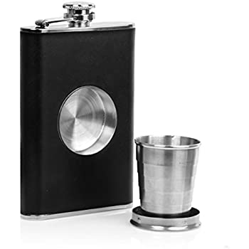 Hip Flask Shot Flask 8oz Stainless Steel & Genuine Leather perfact with Collapsible 2oz. Shot Glass - Bonus Funnel Included