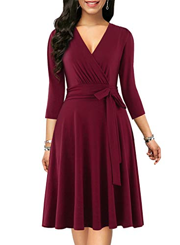 BOKALY Women's Cocktail Dresses with Sleeves Vintage Deep V Neck Chic 50s Tie Pleated Elegant Swing Casual Party Dress (M, BK118-Burgund 3/4 Sleeves)