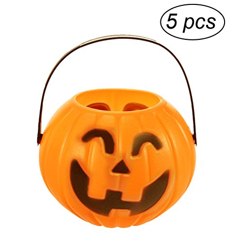 (TINKSKY Pumpkin Candy Holder Trick-or-treat Halloween Candy Bucket Prank Tool without Light 5pcs - Size S(Random)