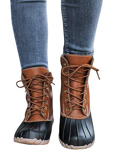 Womens Lace up Duck Boots Waterproof Low Heel Wide Calf Winter Warm Snow Rain Shoes by LAICIGO