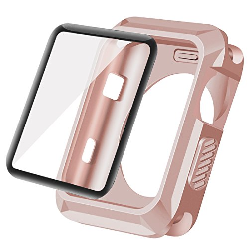 Wolait Compatible with Apple Watch 38mm, Rugged Protective Case + Tempered Glass Screen Protector Compatible for Apple Watch Series 3/2/1 -Rose Gold
