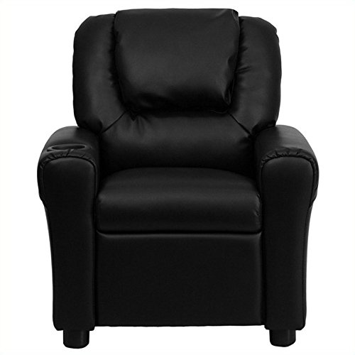 Recliner Headrest (Flash Furniture Contemporary Black Leather Kids Recliner with Cup Holder and Headrest)
