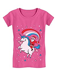 Santa Riding Unicorn Rainbow Ugly Christmas Girls' Fitted Kids T-Shirt