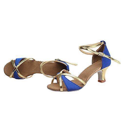 HROYL 805 Salón Baile Mujer Zapatos de Azul de Cuero Baile Latino Cordón rrFwvAq