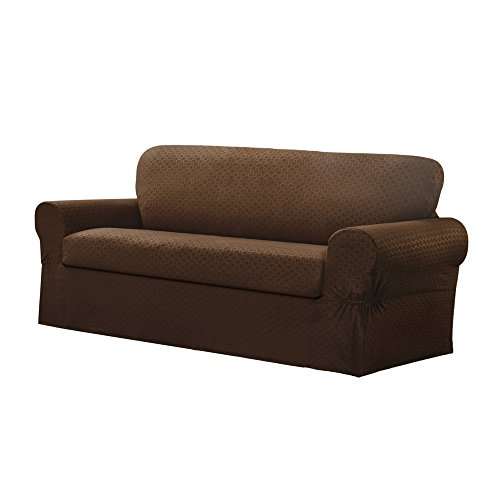Slipcovers Patterned (MAYTEX Conrad 2-Piece Sofa Furniture Cover/Slipcover, Chocolate)