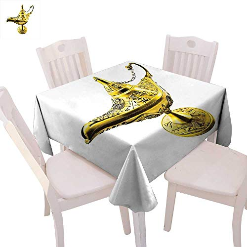 cobeDecor Arabian Patterned Tablecloth Aladdin`s Magic Genie Lamp Wish Mystery Magic Wonder Adventure Story Inspired Art Dust-Proof Tablecloth 50