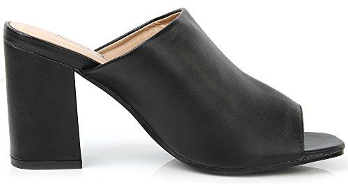 AgeeMi Shoes Slip On Quadratisch Zehe PU Blockabsatz Pantoletten Sandalen Schwarz