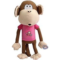 """Large 31"""" Plush Bobby Jack Monkey with Pink Shirt 'Lets Go Do Fun Stuff'"""