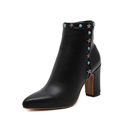 QIN&X Señaló la mujer Tacones Bloque Toe Botines cortos zapatos con plataforma ,negro,35