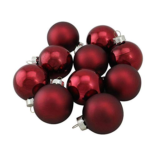 Northlight WY00723 Burgundy Glass Ball Christmas Ornament Set, ()