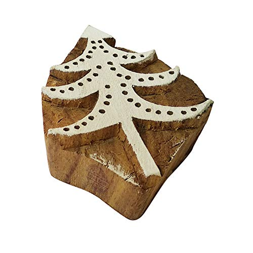 Royal Kraft Fancy Print Stamps Christmas Tree Motif Wood Blocks – DIY Henna Fabric Textile Paper Clay Pottery Block Printing Stamp