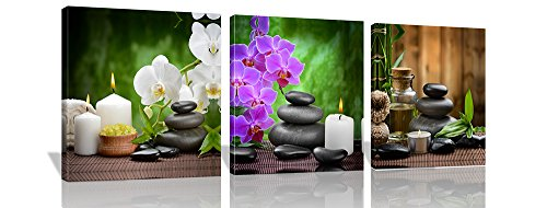 Purple Verbena Art 3 Panels Phalaenopsis Flowers Stone and