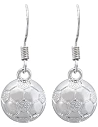 Soccer Earrings - Soccer Silver Dangle Earrings