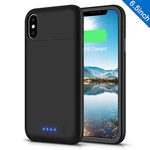 LCLEBM Battery Case for iPhone Xs Max, 6200mAh Portable Protective Charging Case Compatible with iPhone Xs Max (6.5 inch) Rechargeable Extended Battery Charger Case-Black