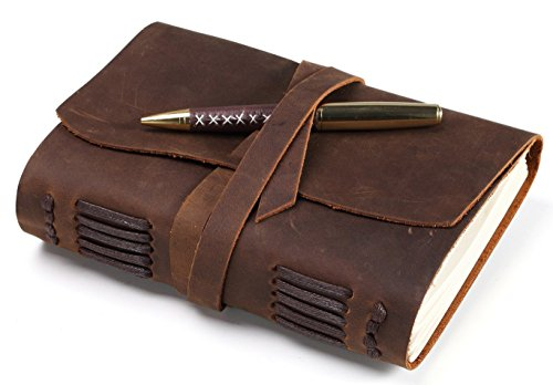 """Leather Journal - Handmade Vintage Antique Soft Leather Bound Notebook - 7"""" X 5"""" Quality Unlined Cre"""