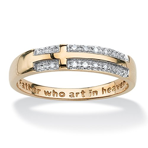 Yellow Gold Diamond Stack Ring (White Diamond Accent 10k Yellow Gold Lord's Prayer Cross Ring (.06 cttw, HI Color, I3)