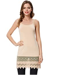 Kate Kasin Sexy Women's Extender Camisole Dress Slip Spaghetti Tank Top Lace Trim