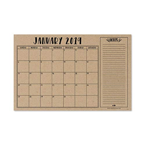 Table Calendar (Rustic 2019-2020 Large Monthly Desk or Wall Calendar Planner, Big Giant Planning Blotter Pad, 18 Month Academic Desktop, Hanging 2-Year Date Notepad Teacher, Mom Family Home Business Office 11x17