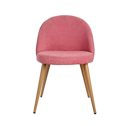 Nynoi Dining Chair Wood Legs Pink color (Set of (Flower Emblem Dresser)