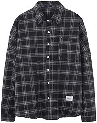 JTDSQDC Camisas de los Hombres Ocasionales de los Hombres de Camisas de Primavera y otoño de Manga Larga Solapa de Tela Escocesa Flojos Camisas de Hombre Casual Abrigos (Color : B, Size :