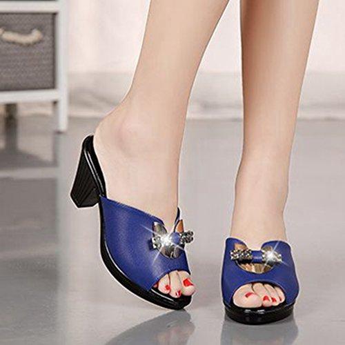Bleu Marin Peep Talon Femmes Haut Robe forme Sandales Mode Wedges Diapositives Toe Bloc Bowtie Plate Scintillante pxqa4wq6Z1