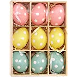 HanYoer Colorful Mini Easter Eggs on Sticks Toy Simulation Egg with Stick DIY Hand Crafts Ornaments Gadget Home Wedding Decoration (9 pcs)