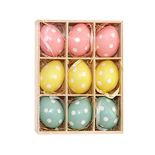 HanYoer Colorful Mini Easter Eggs on Sticks Toy Simulation Egg with Stick DIY Hand Crafts Ornaments Gadget Home Wedding Decoration (9 pcs) -
