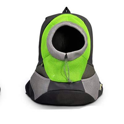 Krassu Outdoor Pet Dog Carrier Pet Backpack Bag Portable Travel Bag Pet Dog Front Bag Mesh Backpack Head Out Double Shoulder [Green S]