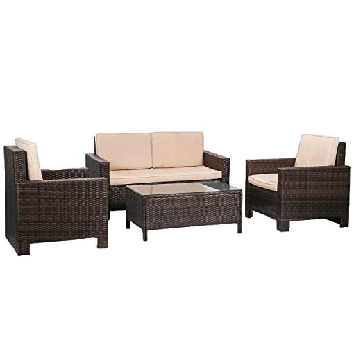 Garden and Outdoor FDW Furniture 4 Piece Patio Sectional Sofa Outdoor Rattan Chair Conversation Sets Cushions Seat Lawn Balcony Poolside or… patio furniture sets