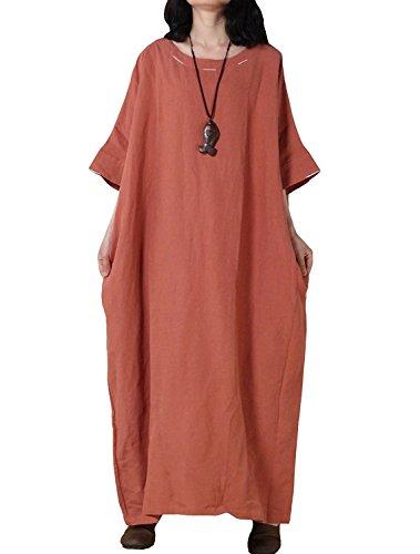 Manches Chauve-souris Des Femmes Davikey Robe Maxi D'été Nouveau Orange