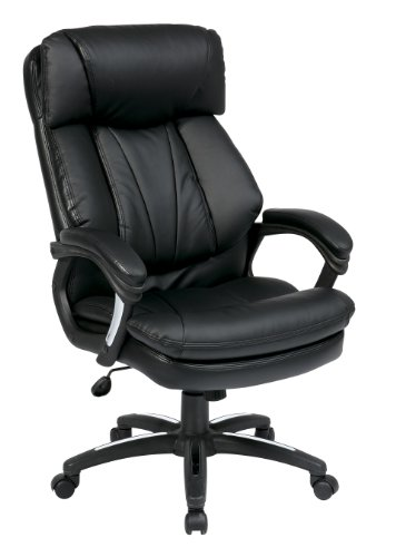 Office Star FL9097-U6 Oversized Faux Leather Executive Chair with Padded Loop Arms, Black