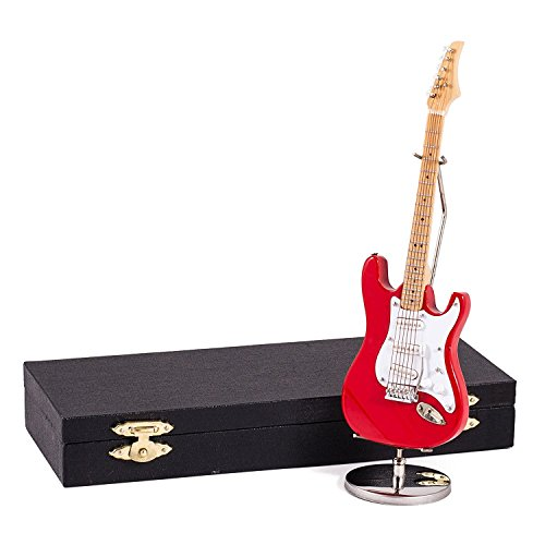 Red Electric Guitar Music Instrument Miniature Replica with Case - Size 7 in.