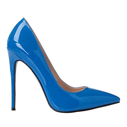 Stilettos for Size Blue Heel High Pumps Pointed 15 Toe Women Petent US Shoes Luxury 4 ZAPROMA wICqzz