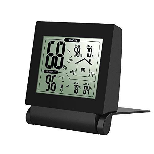 Habor Thermometer Indoor Hygrometer Monitor Temperature and Humidity Sensor for House, Home, Office, Baby Room (Black), 1.deep ()