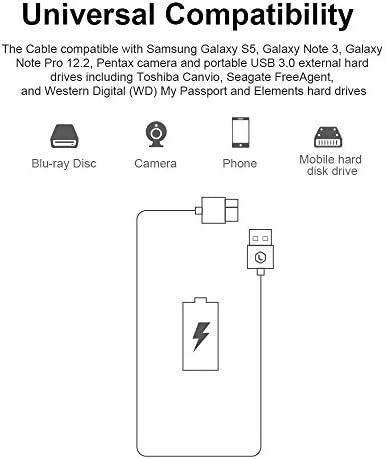 PIHEN Micro B Câble, Câble de synchronisation USB 3.0 à Micro USB 3.0 avec connecteur en Aluminium pour Toshiba Canvio, Disque Dur Externe WD, Samsung Galaxy S5 (1m)