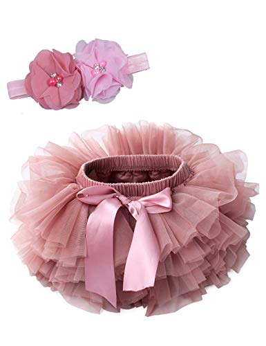 Baby Girls Tutu Bloomers Diaper Cover Cotton Tulle Bloomers and Headband Set Bean Sand 0-6 Month ()