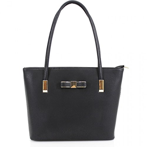 Ladies Office UK Black Shoulder Tote Bag Small Womens Work Designer New Handbag Bow STYqYfZ