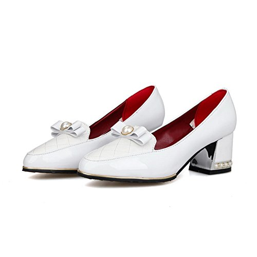 BalaMasa Girls Color Matching Thick Bottom Heel Spun Gold Bowknot Patent Leather Pumps-Shoes White 9F5MAFj