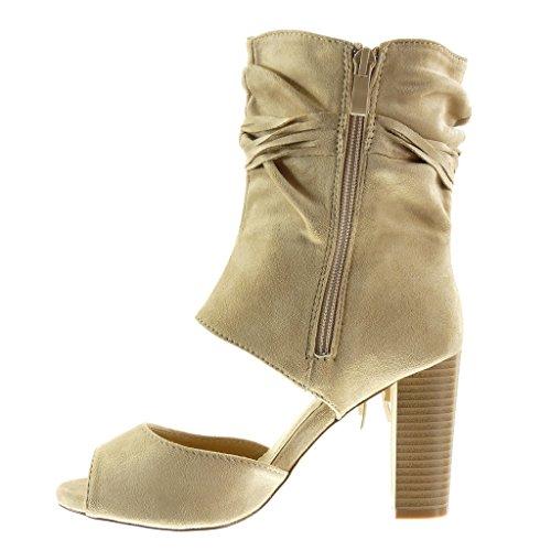 Angkorly - Scarpe da Moda Stivaletti - Scarponcini sandali Peep-Toe aperto sexy donna tanga frange Tacco a blocco tacco alto 9 CM - Beige