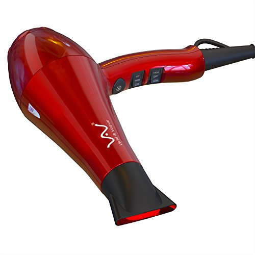 VAV 1875w Powerful Negative Ionic Ceramic Professional Hair Dryer 2 Speeds 3 Temperatures Far Infrared Heat Cool Shot Button with Concentrator Red