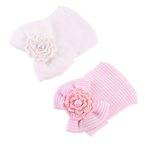 (JustMyDress Newborn Baby Hospital Cap with Bowknot Toddler Infant Hat Baby Beanie Caps JB63 (2 Pcs-Crochet Bead))