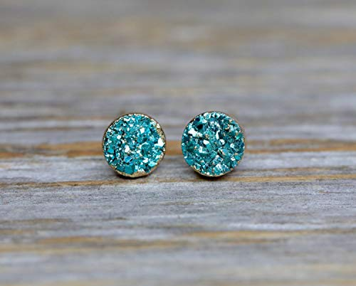 Aqua Quartz Earrings - Aqua Druzy Stud Earring Real Genuine Druzy Quartz Gemstone- Small 6mm