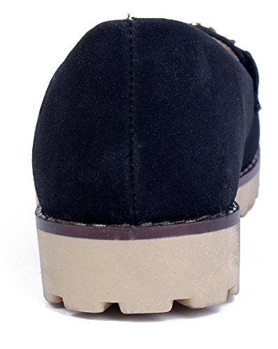 AgeeMi Shoes Damen Rund Schließen Zehe Mokassins Flache Schuhe mit Metall Kette Schwarz
