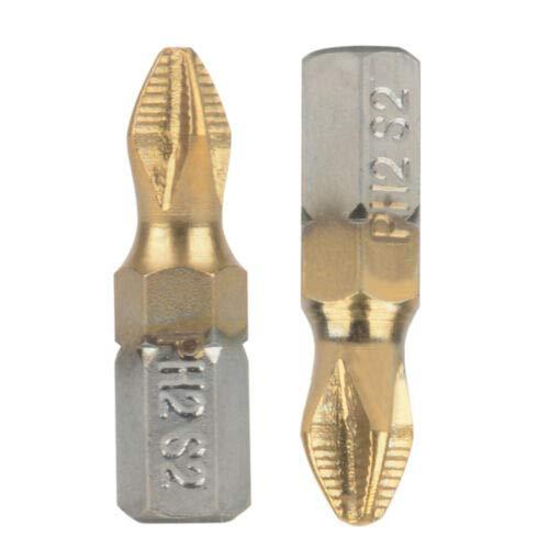 DealShow TM 10pcs 25mm 1//4 Shank Titanium Coated Anti Slip PH2 Screwdriver Bits Drill Bit