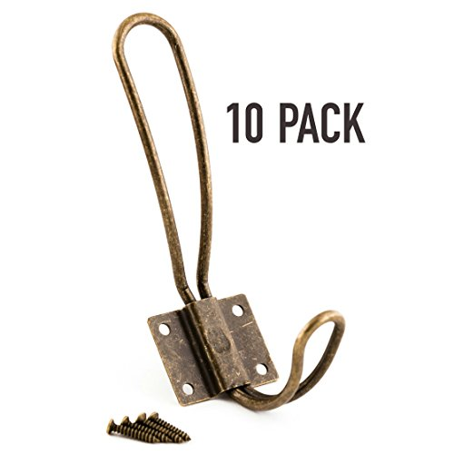 Antique Look Wall - Rustic Coat Hooks Wall Mounted - 10 Pack of Vintage Double Coat Hangers with Large Metal Screws Included - Hard Antique Industrial Heavy Duty Hook Set - Best for Farmhouse Shabby Chic Hanging Look