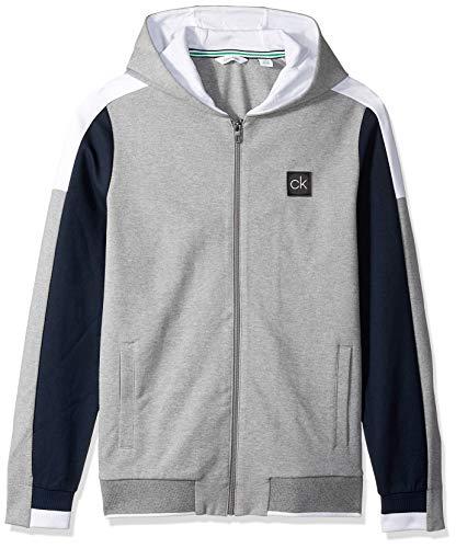 Calvin Klein Men's Lightweight Zip Up Weekend Layer Sweater, Wintermint Grey, Medium