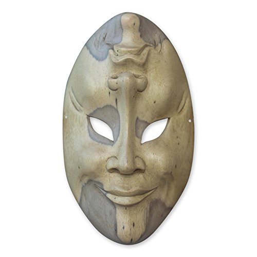 NOVICA Decorative Crocodile Wood Mask, Beige, 'Comedy And Tragedy'