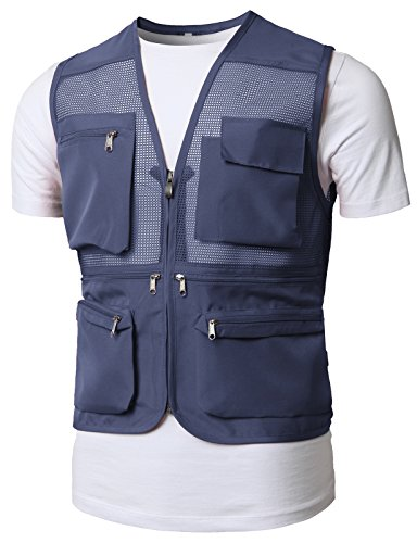 H2H Mens Active Ultimate Travel Hiking Safari Photo Vest of Multiple Pockets Steelblue US L/Asia XL (KMOV0150)